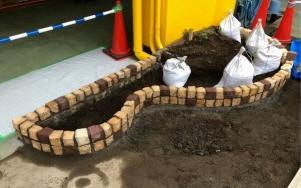 花壇造作外構工事 施工途中1