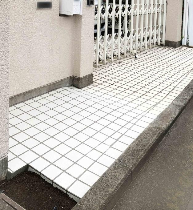 タイル アプローチ エクステリア 外構工事 神奈川 横浜 戸塚区 リフォーム
